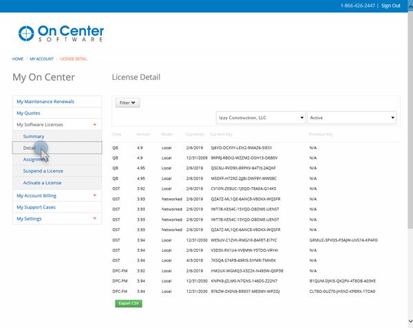portal license detail screen