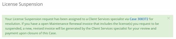 portal suspend license confirmation