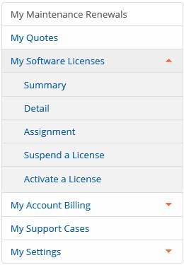 portal licenses menu