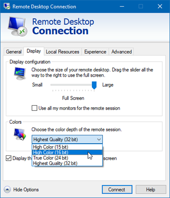 recommended display settings for OST when using remote apps