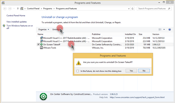 Windows 8.1 Programs and Features list