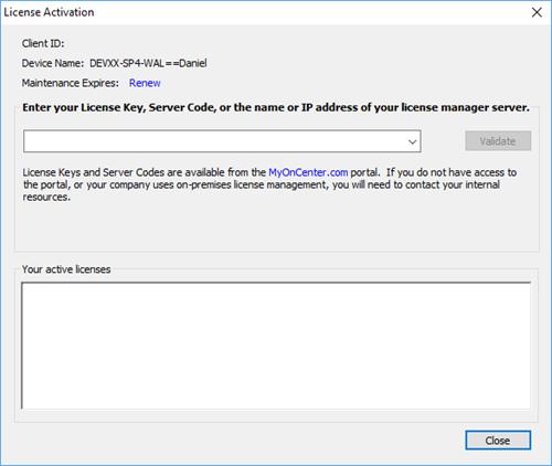 enter a License Key or Server Code