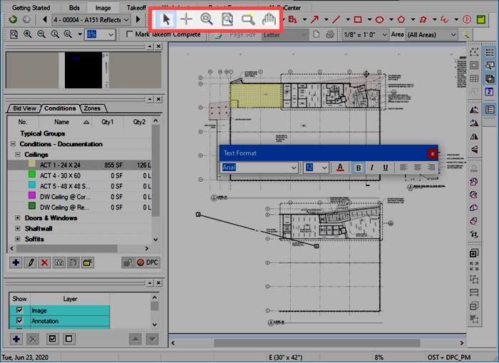 OST Image Tab Tools toolbar