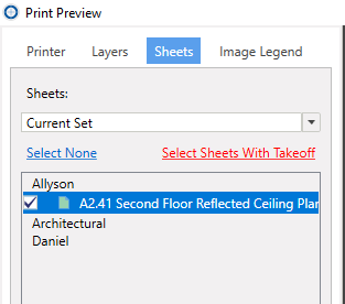 Printing Oasis Takeoff project sheets with takeoff selected in the Print Preview window.