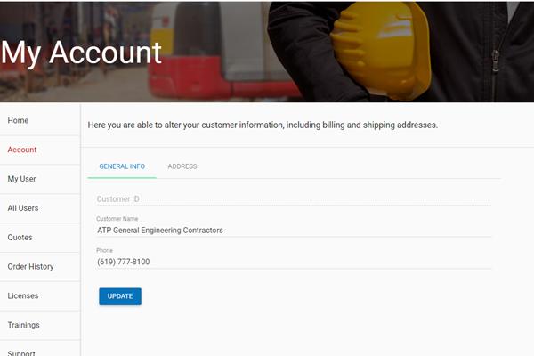 Customer Portal Account Page