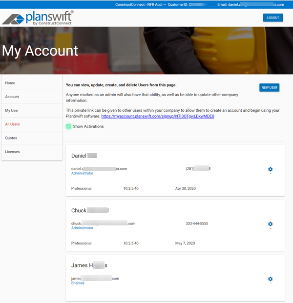 Customer Portal All Users Page