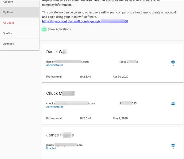 Customer Portal viewing activations