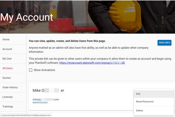 Customer Portal All Users gear menu