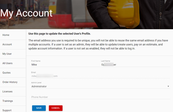 Customer Portal edit user