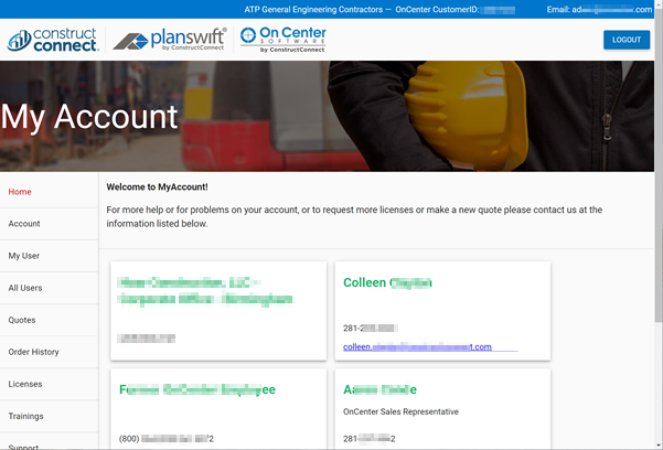Co-Branded Customer Portal Home page