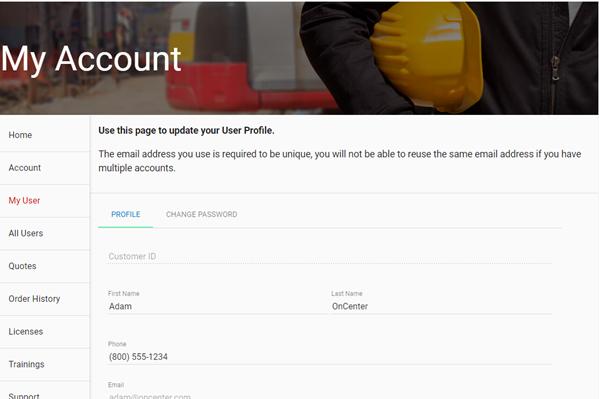 Customer Portal My User Page