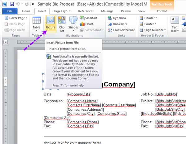 qb 4 96 06 02 adding a company logo to a proposal on center