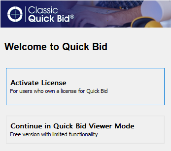 select activate a license or continue using unlicensed version