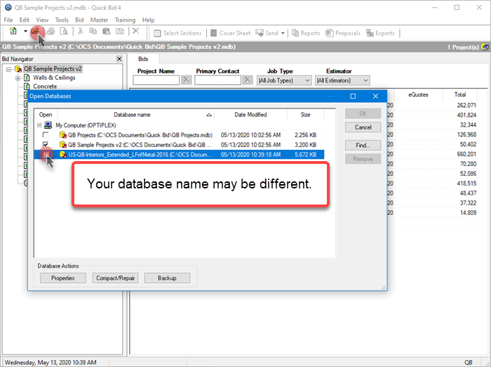 Quick Bid Open Databases dialog box open